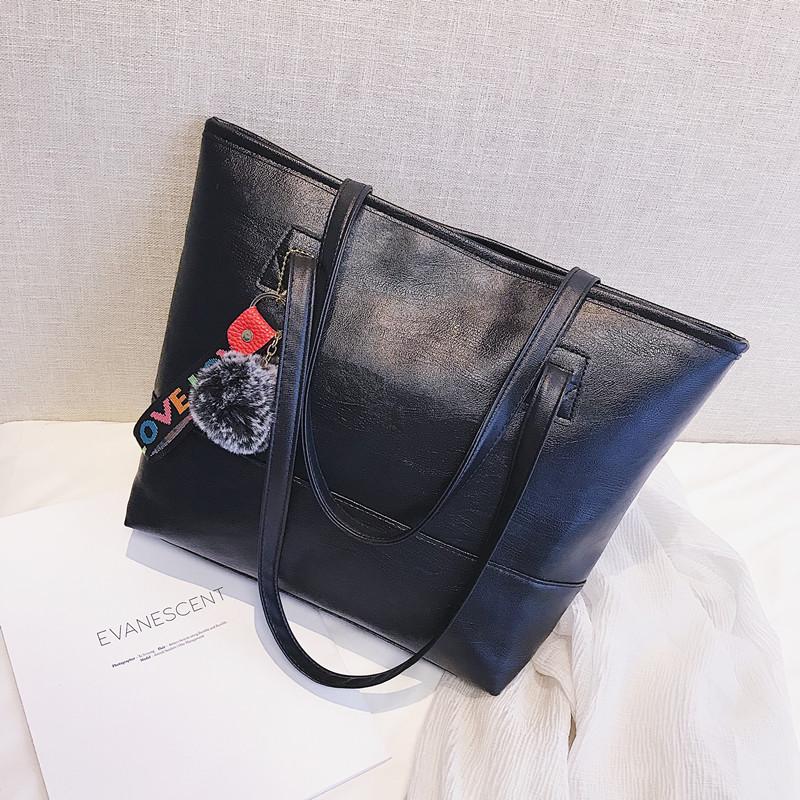 新款韩版女包时尚拼接潮包简约休闲单肩包大容量纯色百搭手提包包