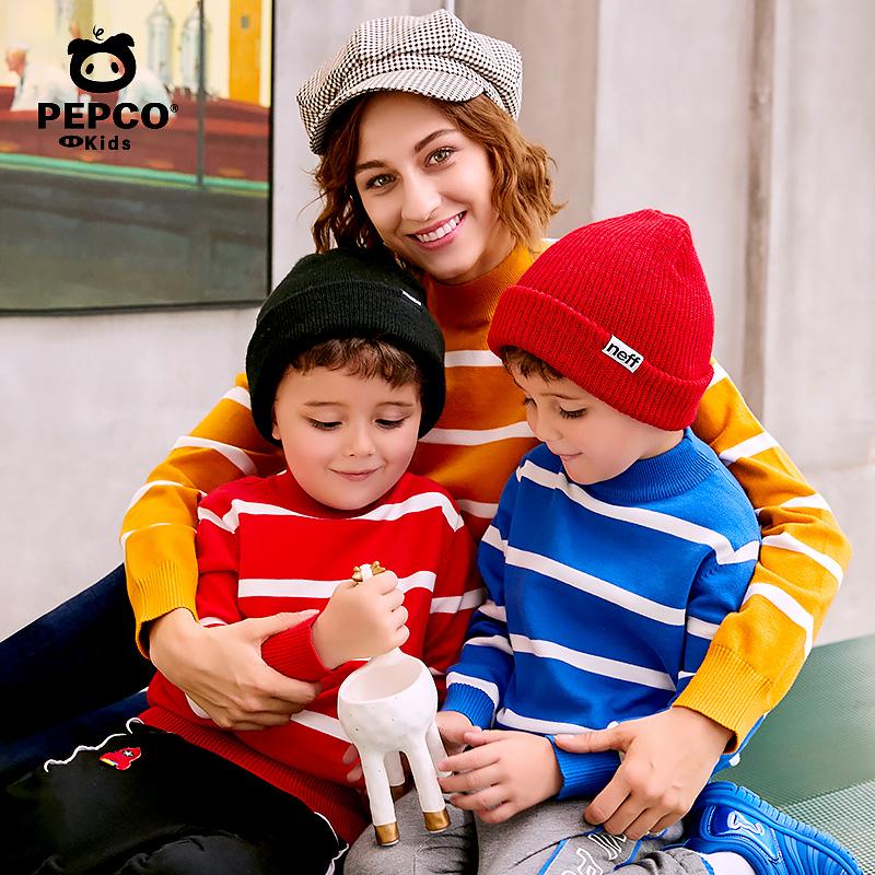 小猪班纳童装男童毛衣冬季女童条纹针织衫儿童樽领毛线衫HTH70