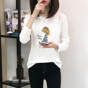 2018秋冬新款长袖t恤衫女韩版宽松学生百搭印花上衣少女棉体恤潮
