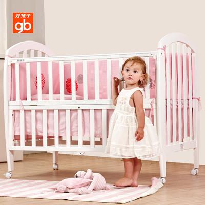gb好孩子婴儿床拼接大床实木欧式多功能两档可调童床游戏床MC290