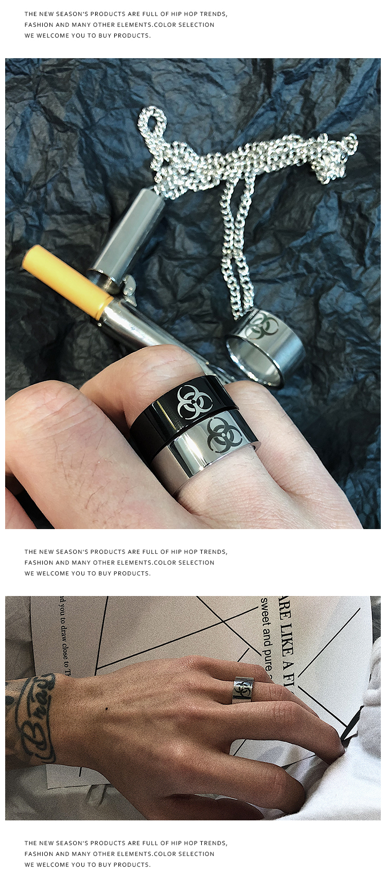 戒指 網紅同款生化符號日韓暗黑系戒指潮人百搭極簡指環圓環對戒情侶男 時尚搬運工