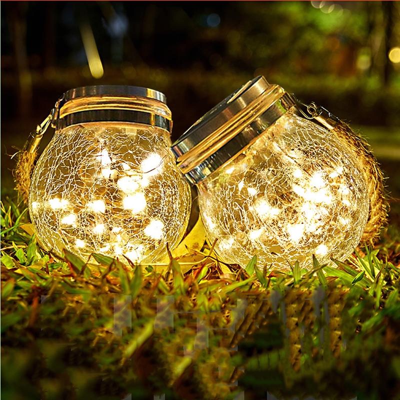 太阳能小夜灯女生柔光户外庭院灯花园顶楼阳台防水充电挂树裂纹灯