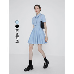 VEGA CHANG college style dress female summer 2021 new waist high-waist pleated skirt with thin waist
