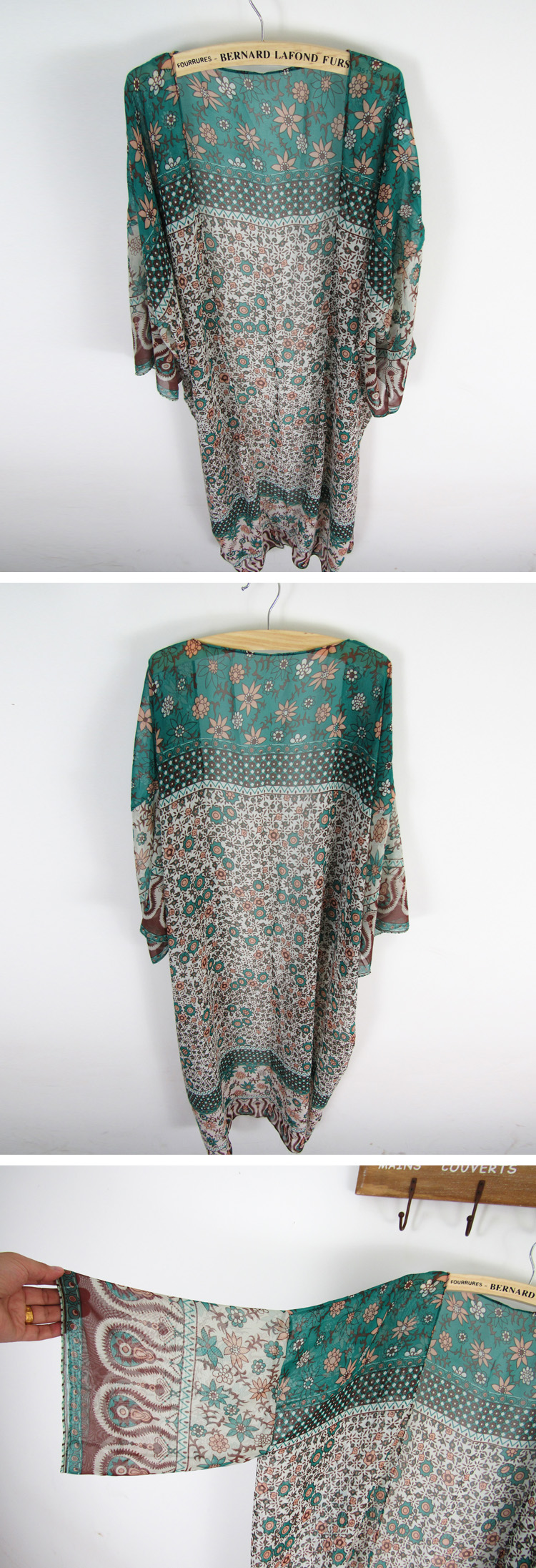 Chiffon Fashiondress(Green floral) NHXW0045-Green floral