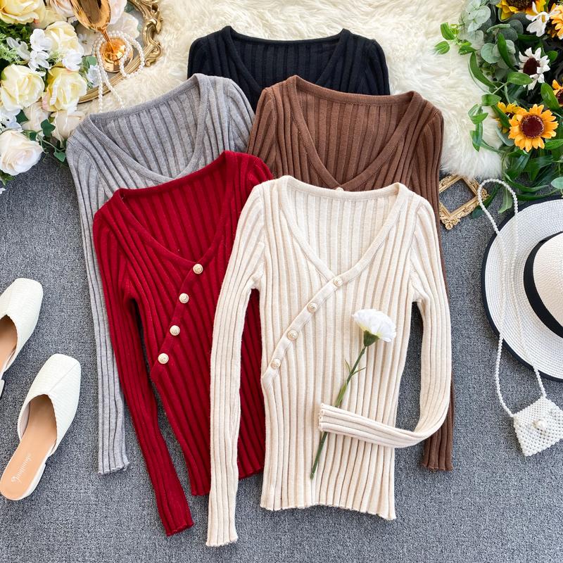 Вязание свитер женский осенний зима дикий корейский простой твердый сексуальный V воротник обтягивающий стройнящий яма длинные полосы рукавов 609068843366