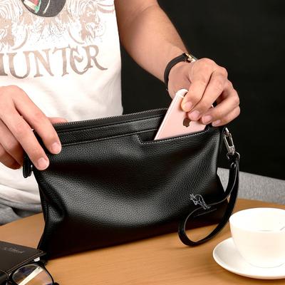 跃森袋鼠男士手包牛皮2020时尚男包手拿手提信封包皮包包夹包真皮