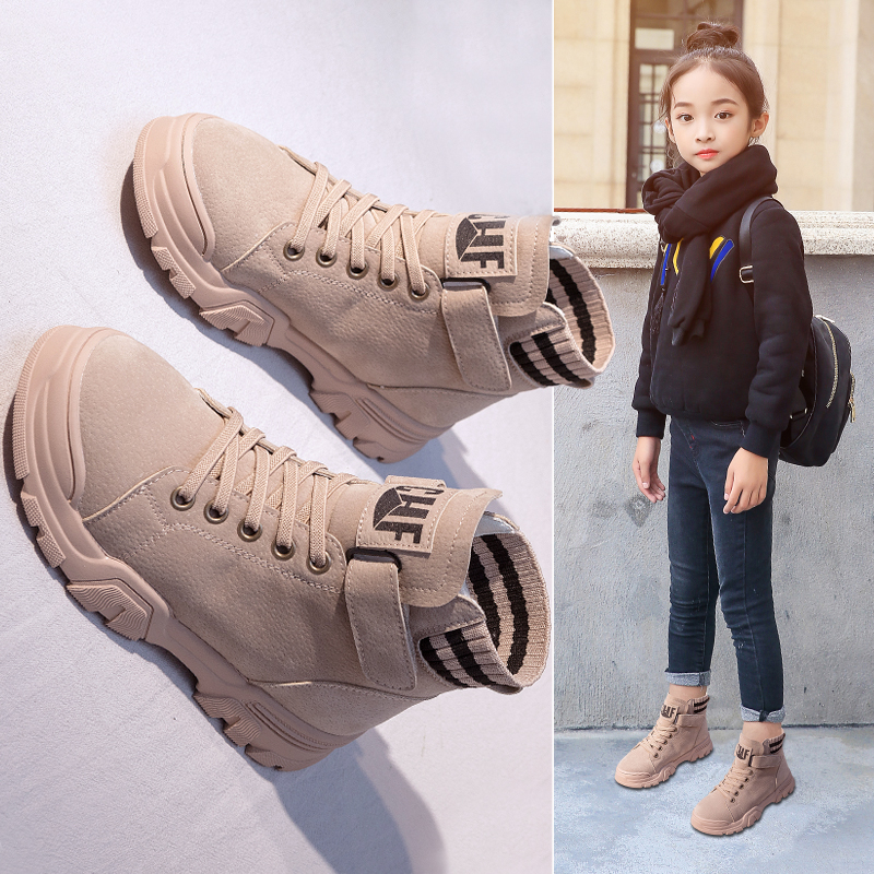 Girls Martin boots 2019 autumn and Winter new air cashmere girls boots two cotton children's boots girls shoes winter