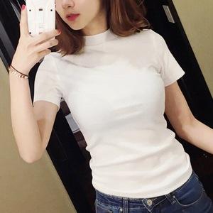 白色T恤女半高领短袖打底衫
