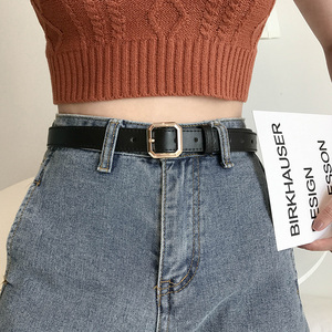 欧美皮带女酷牛仔裤百搭简约韩国时尚小方扣黑色腰带女装饰ins风