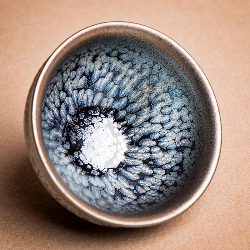 建阳建盏单杯油滴陶瓷兔毫铁胎茶具茶杯鹧鸪套装碗礼物中秋节功夫