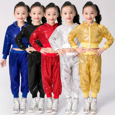 Girls Jazz Dance Costumes Sequins Jazz Dance Modern Hip-hop Dress Kindergarten Cheerleading Clothing for Primary and Secondary School Students