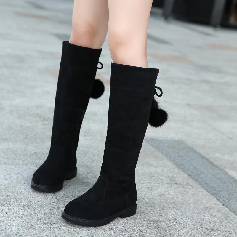 童儿童棉鞋雪地2018新款女童靴子公主靴马丁秋冬季高筒长靴中大童