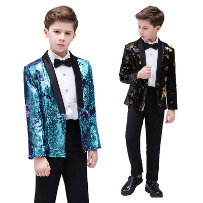 Boys Jazz Dance Costumes Children discolored sequins suit boy ;dress stage show piano performance boys flower suit