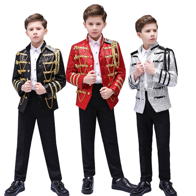 Boys Jazz Dance Costumes uropean Style Children Army Dresses Stage Performance Palace Dresses Prince Dresses Sequins Show Dresses