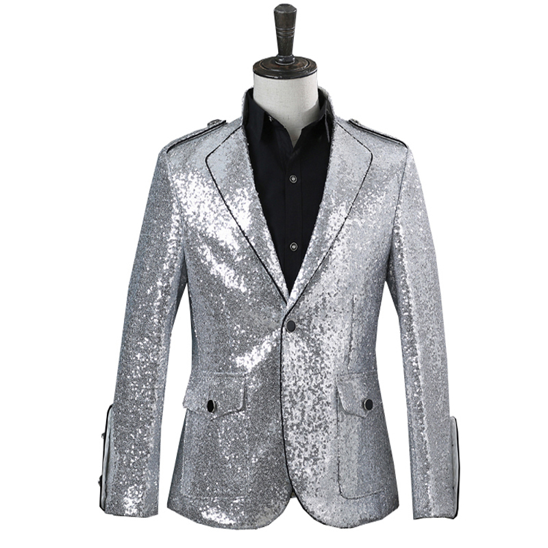 Men's Jazz Dance Costumes Sequined collar-trimmed suit men jacket DJ singer nightclub dress presides over the trend of jacket bar dress