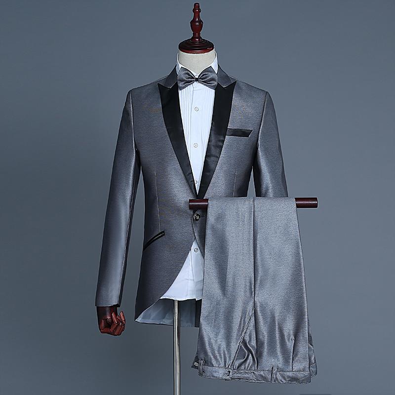 男士礼服小燕尾西服魔术表演指挥服装美声歌手演出服爵士套装舞蹈
