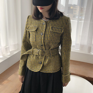 fifth Ajing 2020 temperament short small fragrant woven style pattern suit waist woolen coat female autumn and winter
