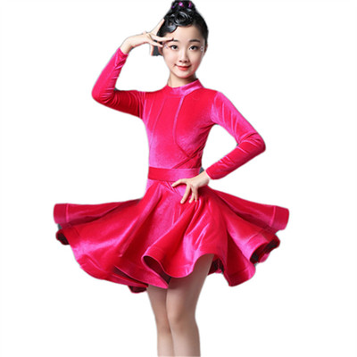 Latin dance dress girl children training dress competition dance dress professional performance
