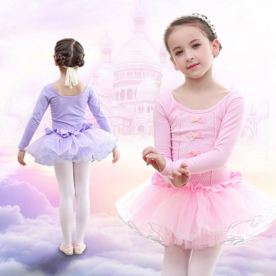 Ballet dresses, children's long sleeved test clothes, lace butterfly fitness suit, girls' dancers.
