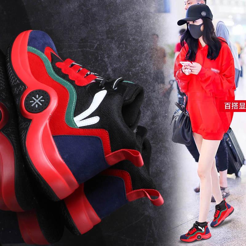 2018新款韩版高帮时尚女鞋休闲跑步鞋系带增高潮鞋拼色透气学生鞋