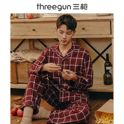 Three gun pajamas for men and women pure cotton spring and autumn lapel cardigan home wear long-sleeved couples cotton men's home wear women suit
