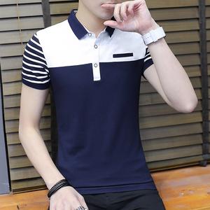 夏季韓版修身T恤上衣男polo衫男短袖潮上衣