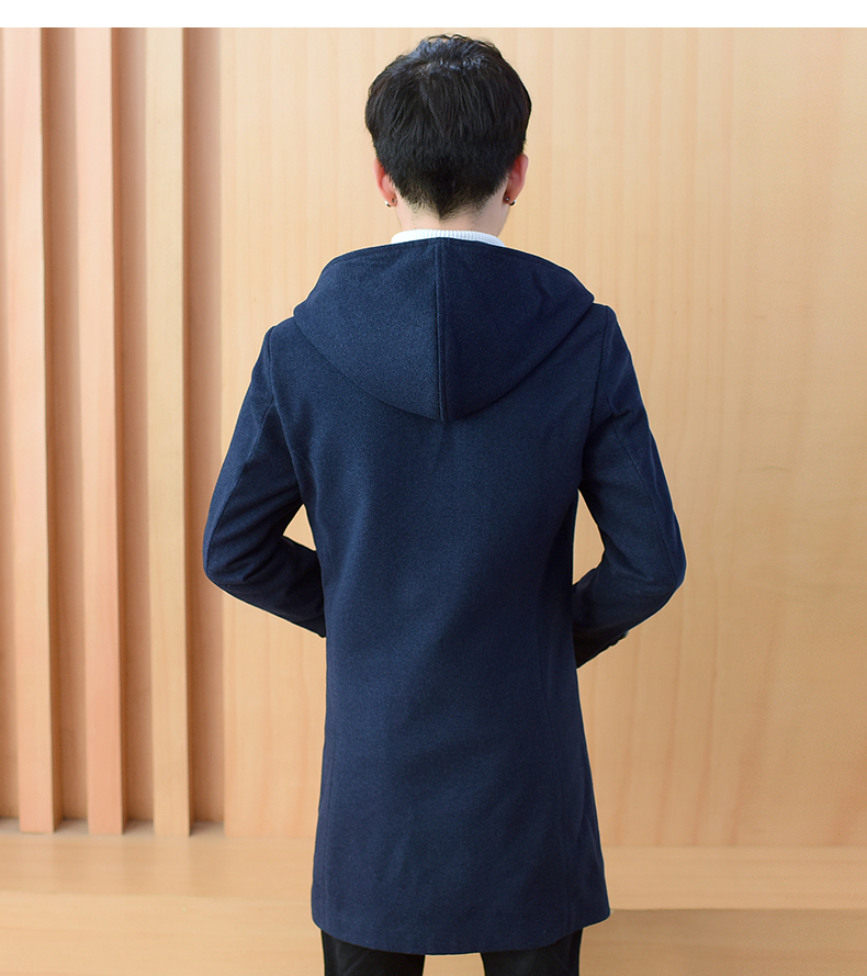 2020 autumn and winter new men's windshields in the long coat men's casual Korean version of the trend youth hair coat 50 Online shopping Bangladesh