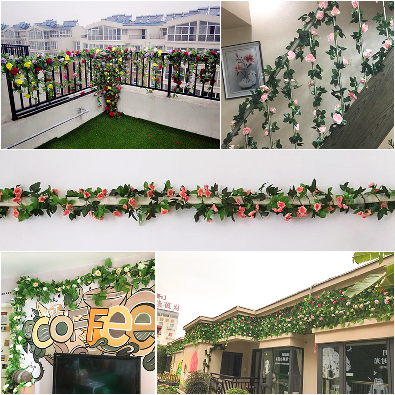 Simulation 33 Roses Rattan Living Room Air Conditioning Duct Indoor Heating Decoration Covering Plastic Fake Flower Vine Festive & Party Supplies