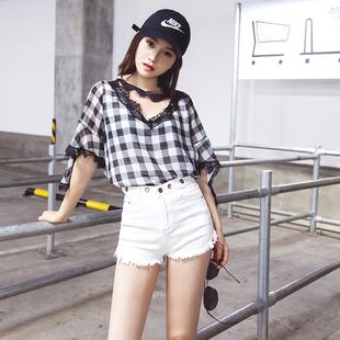 白色牛仔短裤女夏2018新款高腰金属孔韩版弹力显瘦紧身时尚热裤薄