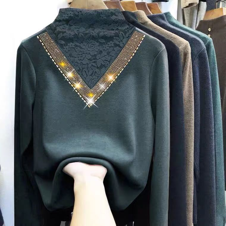 Plus-plus-thick double-sided velvet bottoms with lace semi-high-necked cashmere European top long-sleeved autumn/winter dress 36 Online shopping Bangladesh