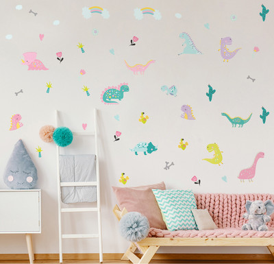 INS dinosaur children's room wall post martolon Rainbow room decoration wall stickers furniture stickers self-adhesive removal