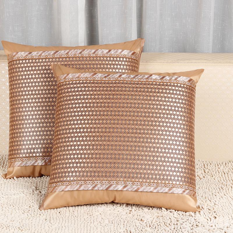 夏季冰丝沙发凉席凉席套靠垫双面办公室腰靠床头靠背抱枕套不含芯