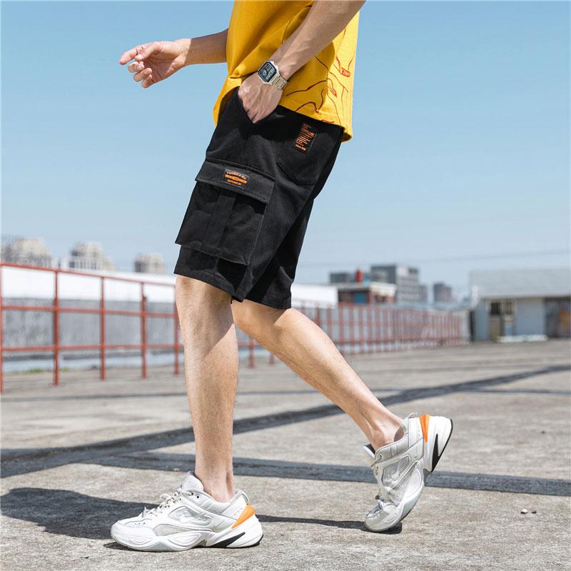 男士纯棉短裤青年宽松裤子韩版潮流休闲裤夏季迷彩工装裤五分裤子