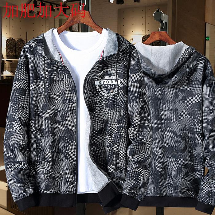 Áo khoác nịt len cotton thường béo cộng với kích thước áo mùa thu áo len nam áo len nam cardigan cộng chất béo dệt kim cỡ lớn - Áo len