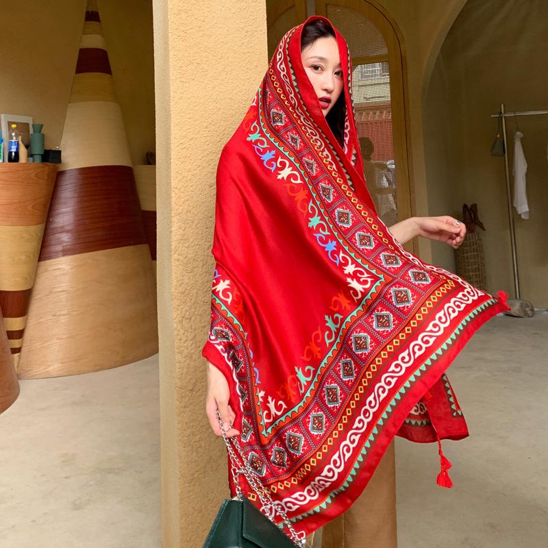 民族风披肩围巾两用海边防晒沙滩丝巾红色超大纱巾女沙漠旅游拍照