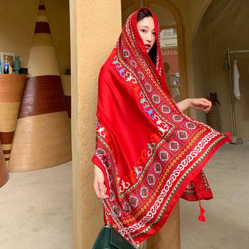 Шарфы, платки, палантины,  Ветер шаль шарф двойной приморский солнцезащитный крем песчаный пляж шарфы красный ультра - большой пряжа полотенце женщина пустыня путешествие фотографировать, цена 256 руб