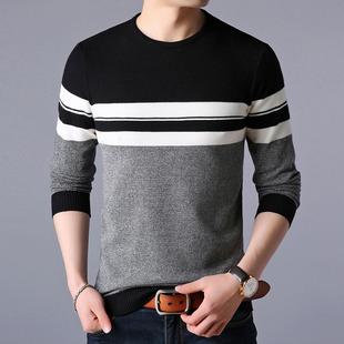 男士长袖毛衣服打底衫圆领针织衫上衣服男装