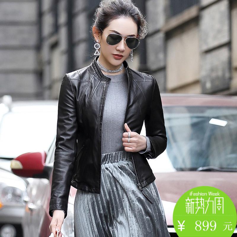 2017 новый весна дерма женская одежда локомотив овец кожи тонкий краткое модель кожа куртка малый кожаный пальто