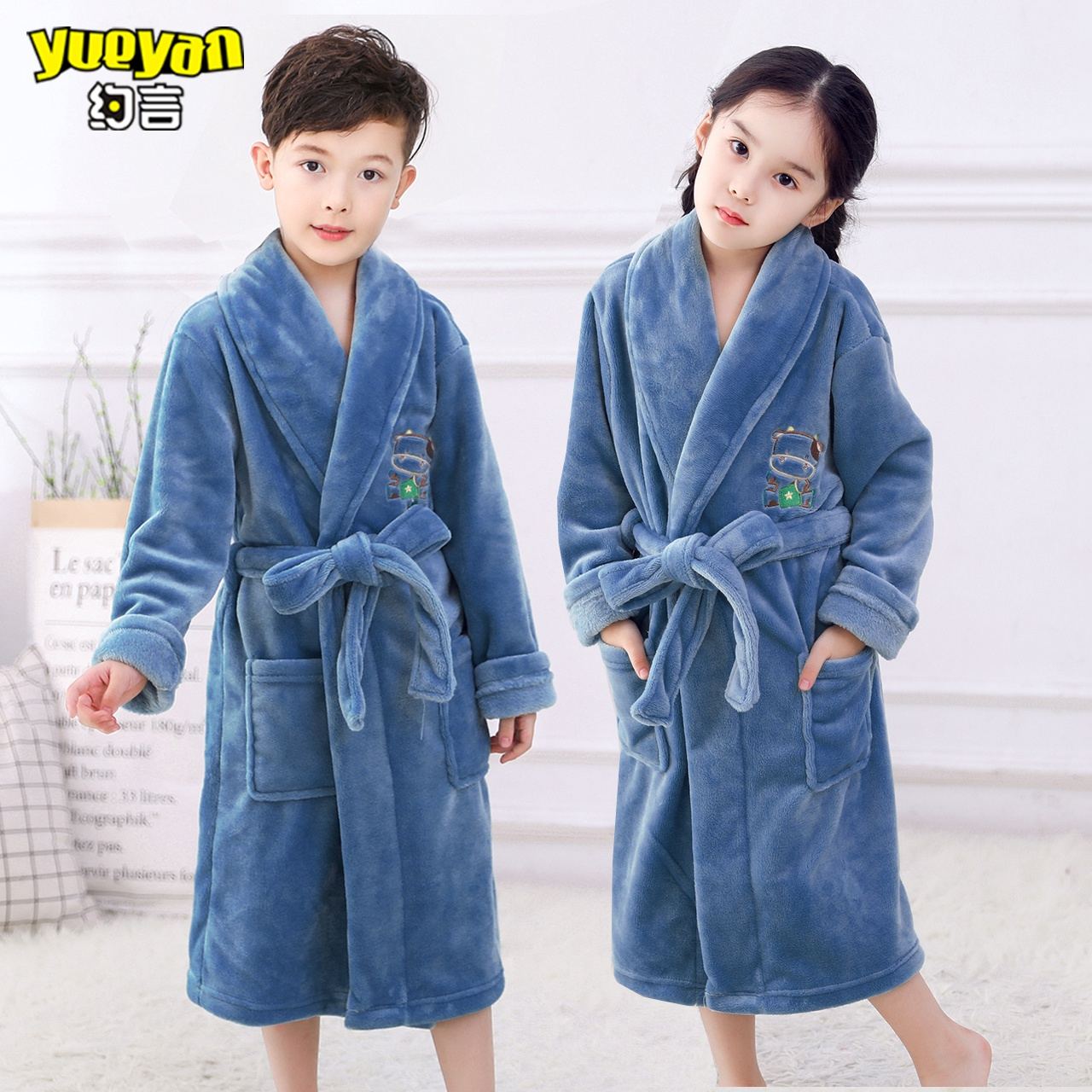 珊瑚睡衣睡袍儿童加厚法兰绒中大童男童绒女童浴袍童装冬季家居服