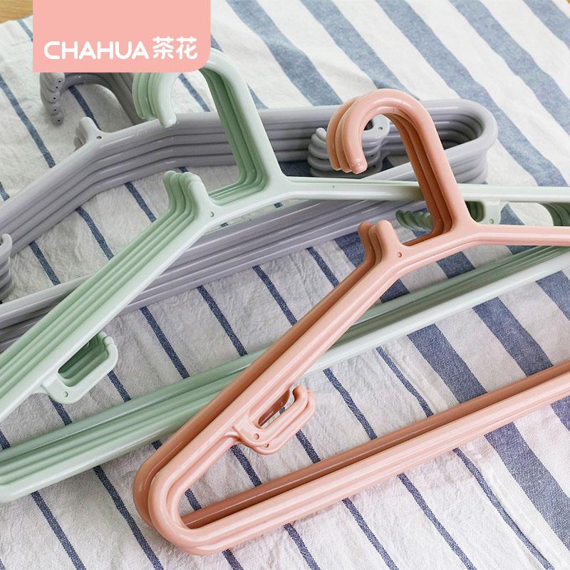 茶花大号晾晒衣架加厚加粗型长50cm塑料挂衣架耐用1x5条0732