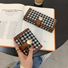 New Houndstooth Canvas Small Wallet Women's Short Contrasting Color Folding Coin Purse Multi-Card Position Buckle Long Clutch