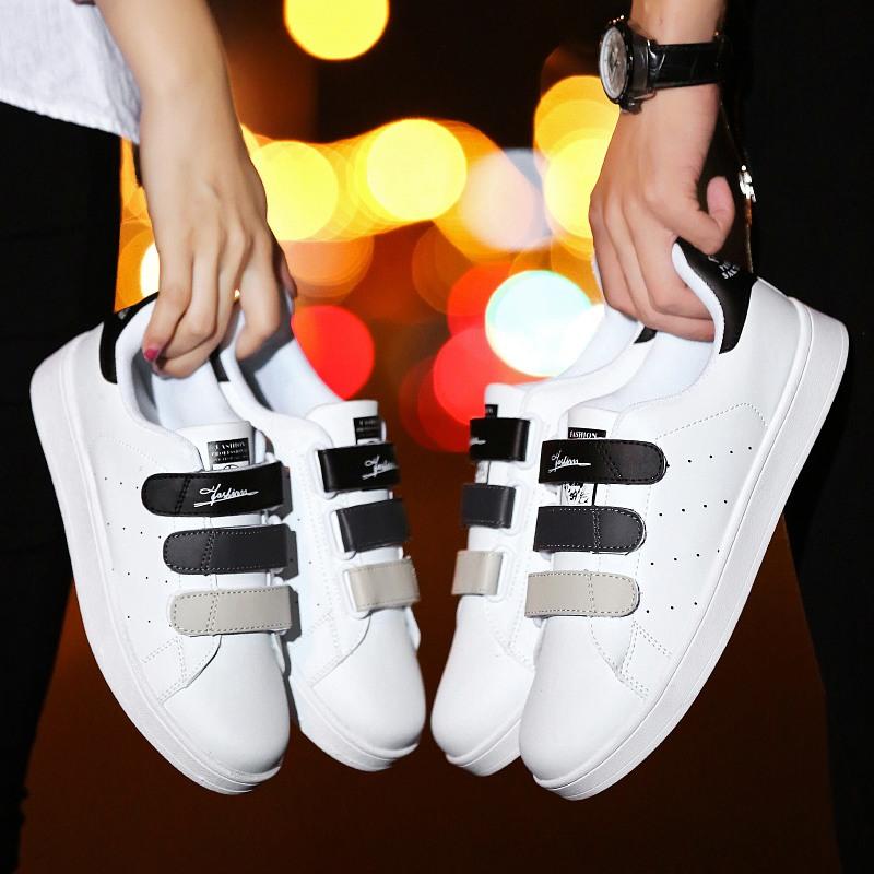 X0ANTA0C正鞋子秋季男鞋贴小白鞋魔术板鞋男韩版品牌运动休闲男士