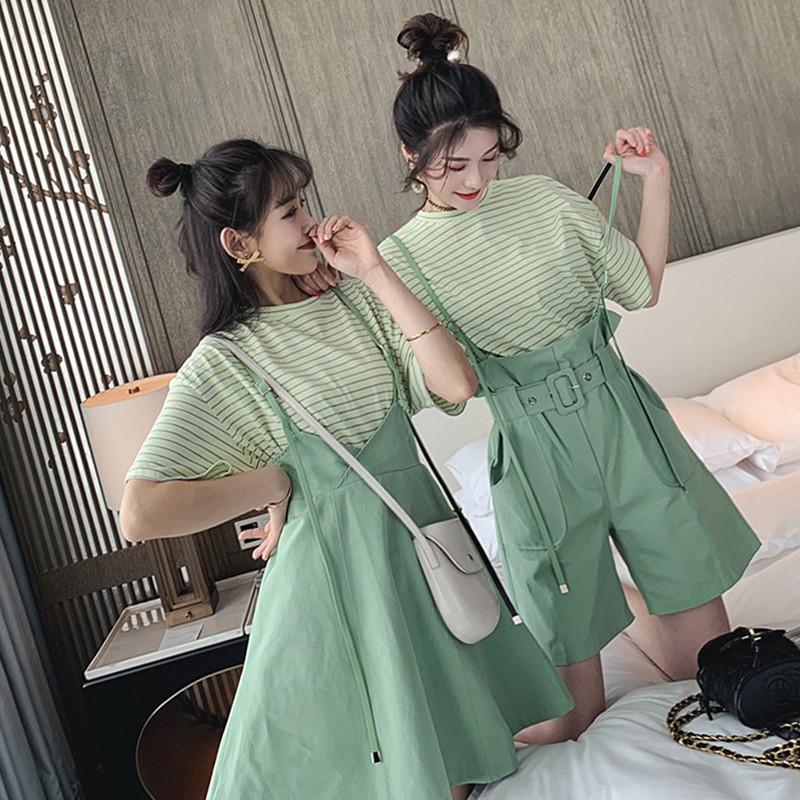 【女神价】小清新短裙短裤条纹套装