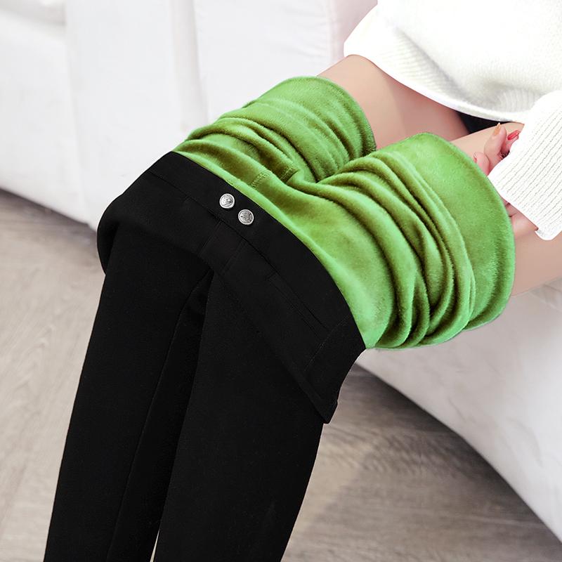 牛油果绿润肤裤加绒保暖打底裤女