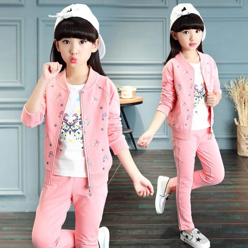 香港IT件套儿童女童三童装2019新款中大童春秋a件套春装运动套装洋