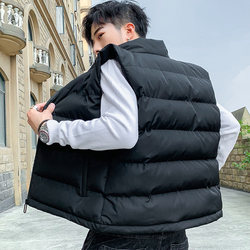 Autumn and winter vest waistcoat sleeveless vest thick collar Slim Men jacket windproof warm cotton vest male
