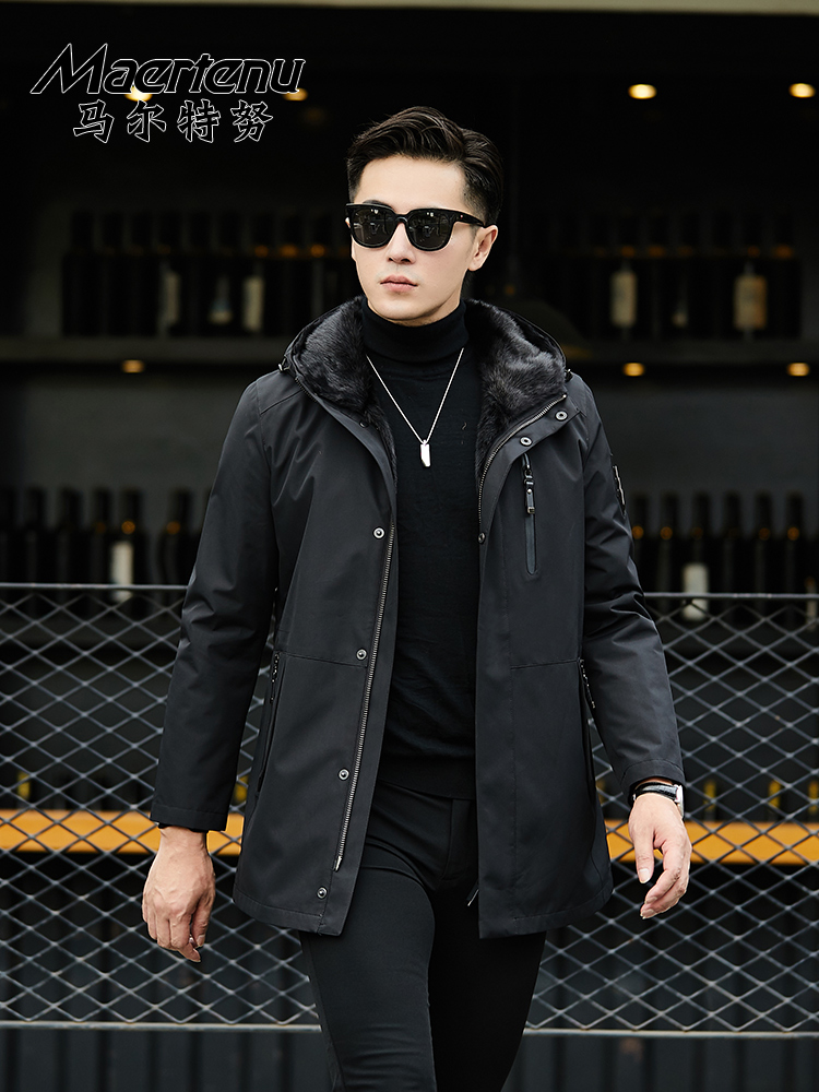 2019 New Pie Overcomes Men's Whole-Skin Otter Inner Bile Fur Coat Peel Pike Mid-Length Mid-Year-Old Man-Middle-aged Coat
