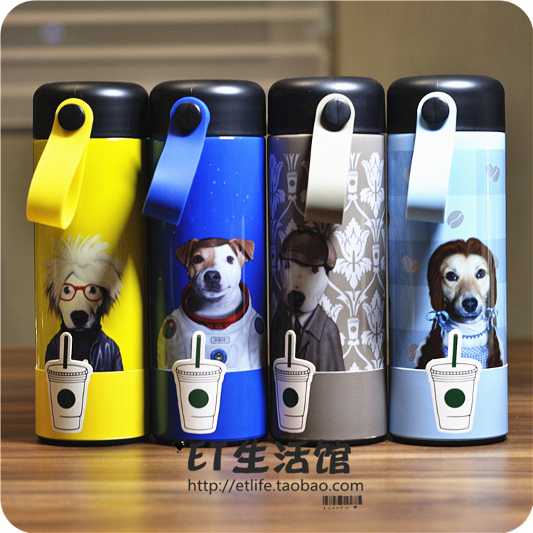 0003b2dc7cbe Starbucks cup 2018 New Year Dog Cup pets rock detective bull terrier tea  compartment stainless steel insulation Cup