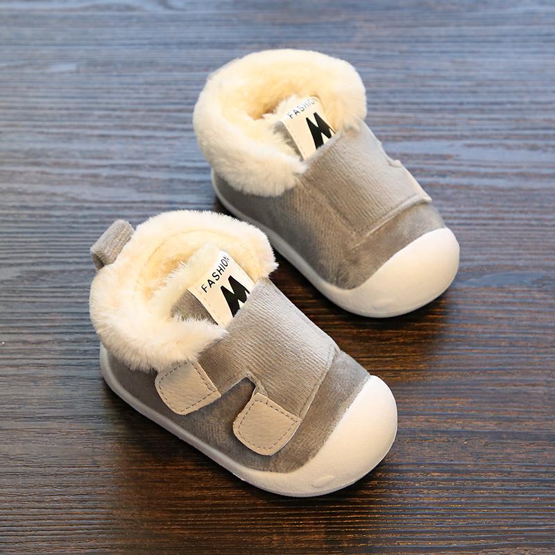 女宝宝鞋子男1-3岁软底冬季棉鞋保暖加绒婴儿学步不掉6幼儿12个月