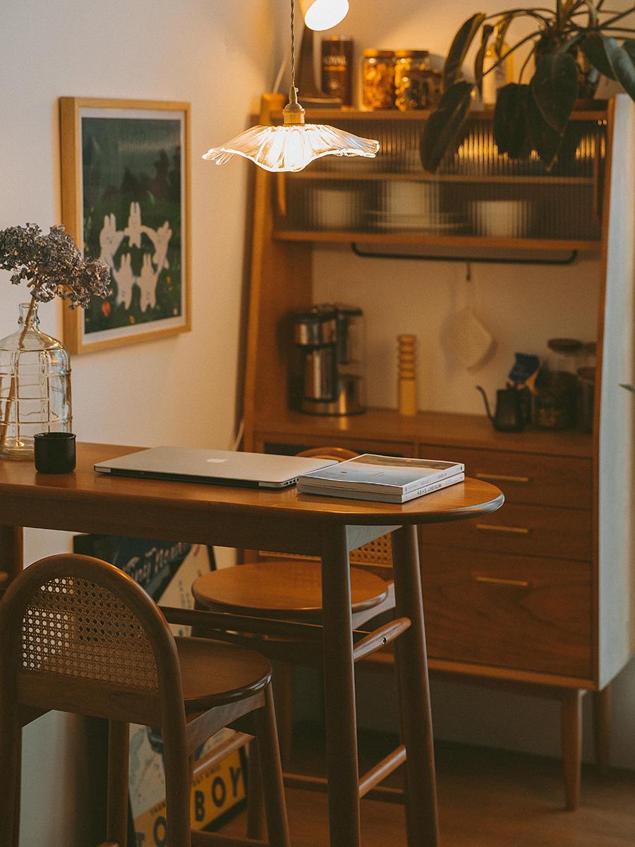 木邻多多餐边柜北欧厨房碗柜储物柜简约家用茶水柜樱桃木实木边柜_图5
